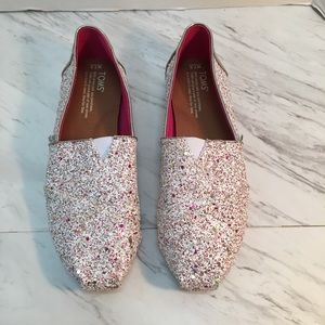 Toms chunky glitter white and rose gold shoes 7.5